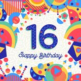 Sixteen 16 year birthday greeting card number. Happy Birthday sixteen 16 year fun design with number, text label and colorful decoration. Ideal for party Stock Photography