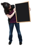Sixteen Year Old Girl with Blank Chalkboard Royalty Free Stock Image