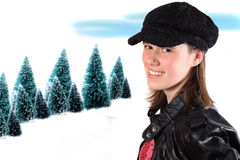 Sixteen year old winter girl Stock Images