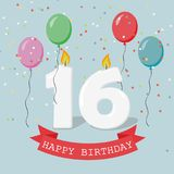 Sixteen years anniversary greeting card with candles. Confetti and balloons Royalty Free Stock Photo