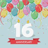 Sixteen years anniversary greeting card with candles. Confetti and balloons Vector Illustration