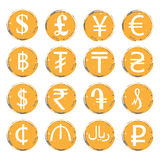 Sixteen yellow-gray  grunge icons with white images of modern currency symbols of various countries, for exchange offices Royalty Free Stock Images