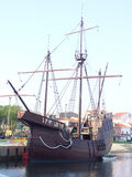 Sixteenth Century Ship. Replica of a sixteenth century ship that portuguese used in the time of discovery. On a visit inside the ship we can see pilote and Royalty Free Stock Image