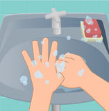 The sixth stage of washing hands. The sixth stage of the wash hand rub between thumb rubbed by rotating royalty free illustration