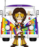 Sixties Flower Power Hippie and Van Royalty Free Stock Images