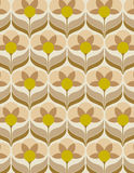 Sixties flower wallpaper. Old sixties wallpaper with yellow and brown flowers Stock Photography