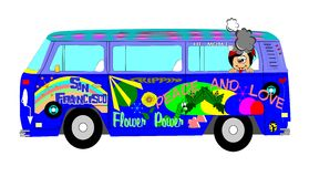 Sixties hippie bus. With stoned kid in back with goofy grin on his face Stock Photos