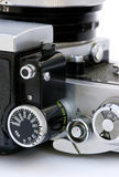 Sixties SLR camera. A close-up of the dials of a vintage SLR camera Stock Image