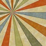 Sixties style grungy sunburst swirl Stock Images