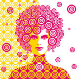 Sixties woman illustration. A woman mixed with abstract elements in six-seventies style Royalty Free Stock Images