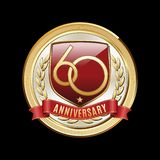Sixty Anniversary Red Shield Luxury Badge. 60 Years Anniversary emblem. Premium luxury anniversary badge royalty free illustration