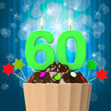 Sixty Candle On Cupcake Means Sixtieth Birthday Royalty Free Stock Photo