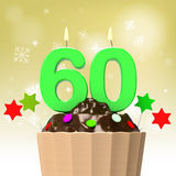 Sixty Candle On Cupcake Shows Family Reunion Royalty Free Stock Image