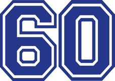 Sixty college number 60. Vector Stock Image
