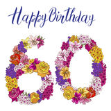 Sixty digit made of different flowers  on white background. Happy birthday inscription. Vector illustration Royalty Free Stock Image