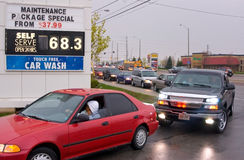 Sixty Eight Point Three. Hundredes of motorists line up for hours to buy half price gas in Mississauga, Canada on Friday, May 2nd, 2008 Stock Photo