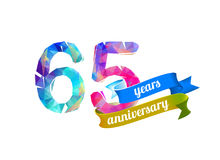 65 sixty five years anniversary. Vector triangular digits stock illustration