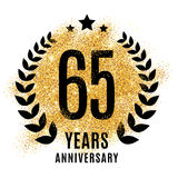 Sixty-five years gold anniversary. Sixty-five years gold anniversary symbol. 65. Golden glitter icon celebration for flyer, poster, banner, web header. Yellow Royalty Free Stock Photos