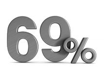 Sixty nine percent on white background. Isolated 3D illustration.  Royalty Free Stock Photos