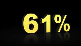 Sixty-one 61 % percent 3D rendering. Sixty-one 61 percent caption 3D rendering stock illustration
