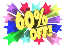 Sixty percent discount. Golden text among bright multi colored stars. 3d render Royalty Free Stock Photography