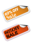 Sixty percent off stickers Royalty Free Stock Image