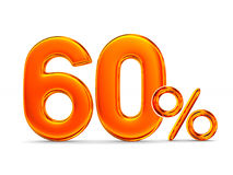 Sixty percent on white background.  3D illustration Stock Image
