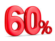 Sixty percent on white background. Isolated 3D Stock Images