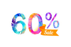 60 sixty percents sale. Vector triangular digits Royalty Free Stock Photo