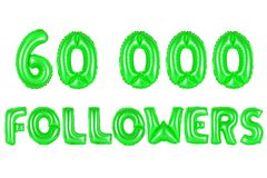 Sixty thousand followers, green color Royalty Free Stock Image