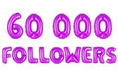Sixty thousand followers, purple color Stock Image