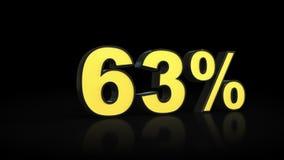 Sixty-three 63 % percent 3D rendering. Sixty-three 63 percent caption 3D rendering Stock Image
