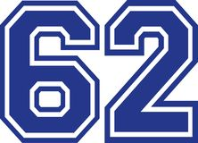 Sixty-two college number 62. Vector Stock Photo