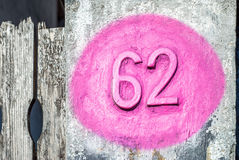 Sixty two number Stock Photography