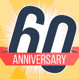Sixty years anniversary banner. 60th anniversary logo. Vector illustration. Royalty Free Stock Photography