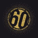 Sixty years anniversary celebration golden logotype. 60th anniversary gold logo. Vector Royalty Free Stock Image