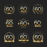 Sixty years anniversary celebration logotype. 60th anniversary logo collection. Vector Royalty Free Stock Photo