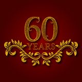 Sixty years anniversary celebration patterned logotype. Sixtieth anniversary vintage golden logo. With shadow Stock Images