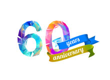 60 sixty years anniversary. Vector triangular digits Stock Photography