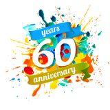 60 years anniversary. Splash paint. Sixty years anniversary. Vector watercolor splash paint vector illustration
