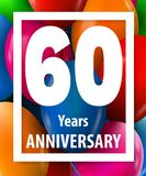 Sixty years anniversary. 60 years. Greeting card or banner concept. Vector illustration stock illustration