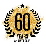 Sixty years gold anniversary. Sixty years gold anniversary symbol. 20th twenties. Golden glitter icon celebration for flyer, poster, banner, web header. Yellow Royalty Free Stock Photos