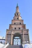 Siyumbike塔古老门在喀山克里姆林宫 库存照片