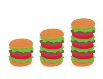 3 size of burger. Vector Illustration isolated on white background Royalty Free Stock Photos