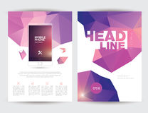A4 Size Business Brochure Flyer Layout Template. With Geometric Triangular Design Front and Back Stock Photos