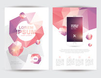 A4 Size Business Brochure Flyer Layout Template. With Geometric Triangular Design Front and Back Vector Illustration