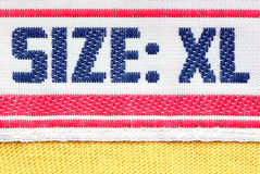 Size clothes XL. Detail marking on the label clothing size XL Stock Images