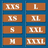 Size clothing labels -  Stock Images