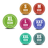 Size clothing labels Stock Photo