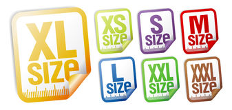 Size clothing stickers Stock Photography
